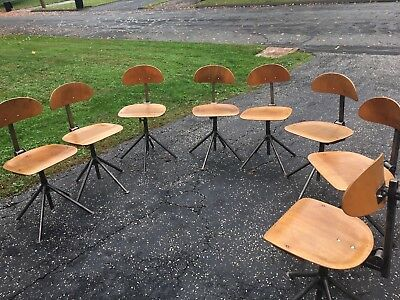 8 Vintage Mid-Century Bent Plywood & Metal Industrial Desk/Dining Chairs Seats