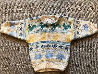 Vintage 3812 Made in Great Britain Cream Bunny Sweater Children's Boys 3/6 mos