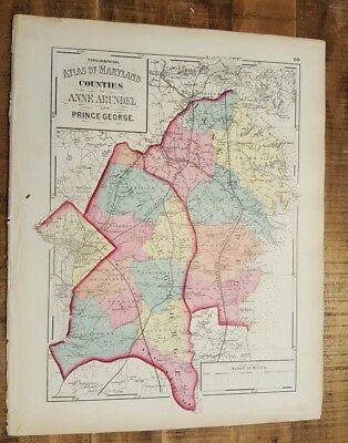 Antique MAP-MARYLAND/CO'S OF ANNE ARUNDEL & PRINCE G / 1873 Topographical Atlas
