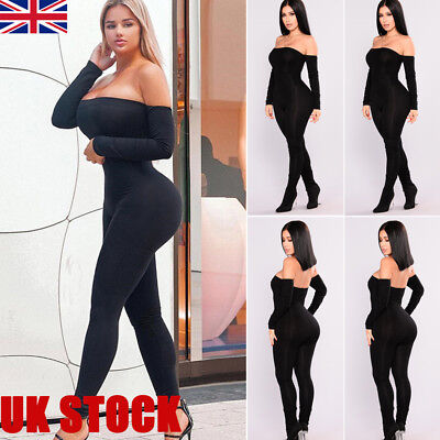 Womens Bardot Off Shoulder Ribbed Long Sleeve Bodycon Knitted Jumpsuit Playsuit