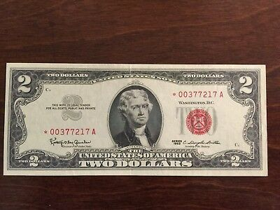1963 $2 Red Seal *star* Us Legal Tender Note