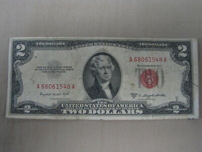 1953B $2 Two Dollar Bill Legal Tender Red Seal United States Note Circulated