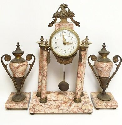 Antique Clock Garniture Pink Marble Mantel French 100 Years Old