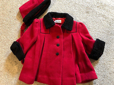Vintage Saks Fifth Avenue 9987 Red Wool Coat with Dettached Hood Girl's 12/18 mo
