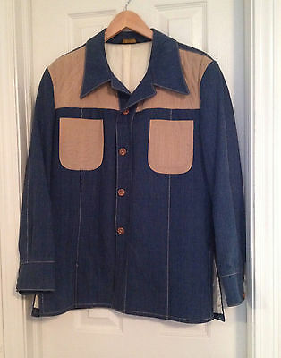Vintage Mens CK Slaughter Blue Rockabilly Western Denim Sport Coat Jacket 44