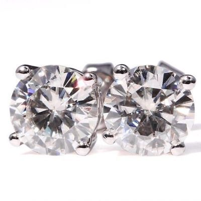 2 Ct Near White Classic Round Cut Moissanite Stud Earrings 9K In White Gold