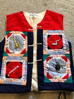 Vintage Dum Sum Shirts 7619 Multi Colored Bug Quilted Vest Girl's S