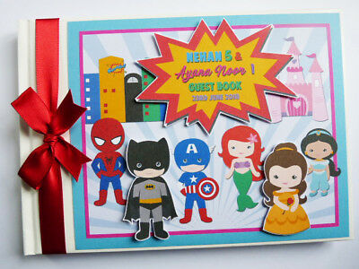 Personalised Superheroes And Princesses Birthday Guest Book - Any Design