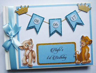 Personalised Disney Lion King Simba And Nala Birthday Guest Book - Any Design