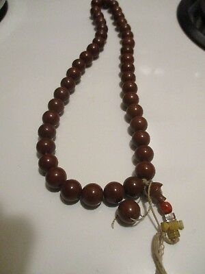 CHOCOLATE BROWN round antique prayer beads carved pearl cross VERY old estate