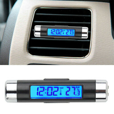 2 in 1 Back Light Blue LED Car Interior A/C Vent Clip Digital Clock Thermometer
