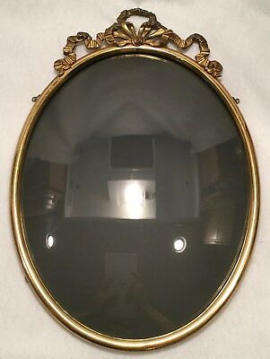 Antique c.1910s Oval Gold Metal Convex or Bubble Glass Picture Frame w/ Crown