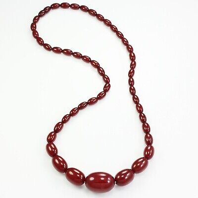 VTG Cherry Amber Colored Bakelite Necklace Red Graduated Ovoid Beads 1930s 48 g