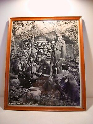 Vintage Boy Scout Campout Wood Framed Photo By Kent Spring