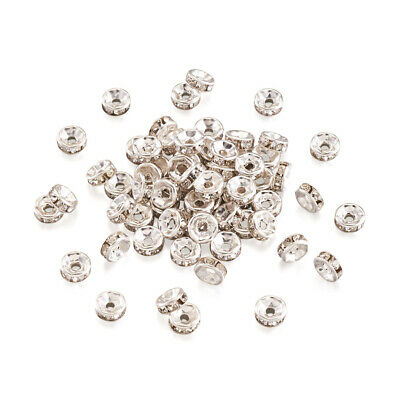 1000pcs Iron Clear Rhinestone Beads Grade B Rondelle Silver 6mm Crystal Beads