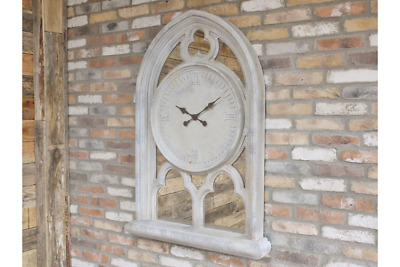 Large Church Window Style Gothic Arched Clock With Shelf & Antique Style Mirrors