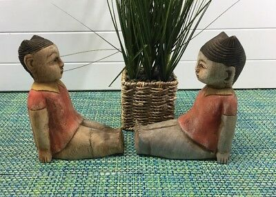Two Antique Carved Wood Polychrome Chinese Boy  Sculpture Figurine Bookends
