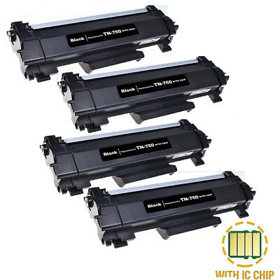 4PK TN760 High Yield Toner With Chip fit For Brother DCP-L2550 HL-L2350 TN730