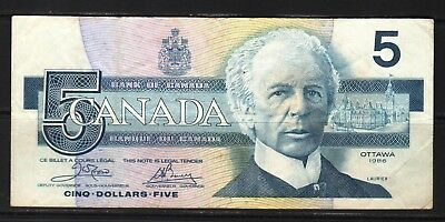 "Canada - 1986 Bank of Canada 5 Dollars P95b  Fine  condition ""W. Laurier"""