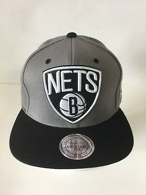 promo code 8d48a 37ecb Mitchell   Ness Brooklyn Nets Gray Black Retro Snapback Hat Cap NBA logo