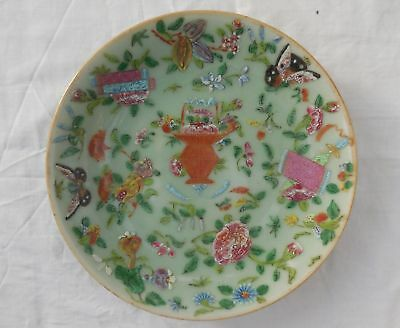 Antique Chinese Celadon Famille Rose 19cm Diameter Plate Signed