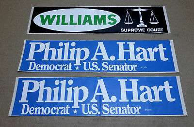 Lot of 3 VTG Philip A. Hart Democrat U.S. Senator Williams Supre Bumper Stickers