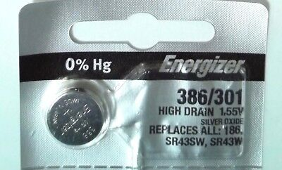 1x Battery Energizer 386/301 SR43SW SR43W 1.55V Lithium Watch Button Cell