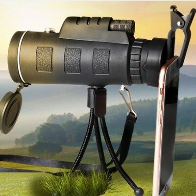 40x60 Zoom Monocular Telescope Observe Survey Camping +compass+spring clip