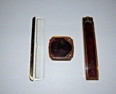Vintage Art Deco Faux Tortoise Shell Celluloid? Vanity Comb, Tooth & Powder Case