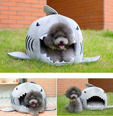 Shark Enclosed Pet Bed for Dog Puppy Cat with Mat - Gray Small to Medium Round
