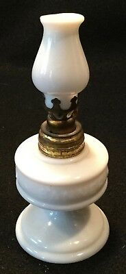 Antique 19th c. PLUME & ATWOOD Miniature IMPROVED BANNER Milk Glass Oil Lamp