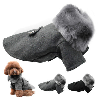Winter Dog Woolen Clothes With Fur Collar Puppy Yorkshire Dogs Jacket Coat S-XXL