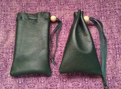 Small green leather bag pouch drawstring renaissance medieval dice coin