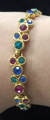 Signed Swarovski Color Crystal Bracelet Sku100610A