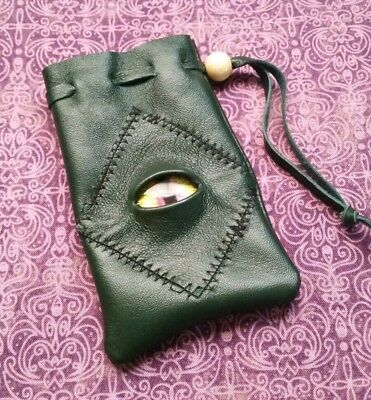 green leather bag pouch drawstring renaissance medieval dice coin Stitched Eye