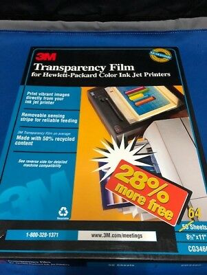"""3M Transparency Film for HP Color Ink Jet Printers CG3460 21 Sheets 8.5"""" x 11"""""""