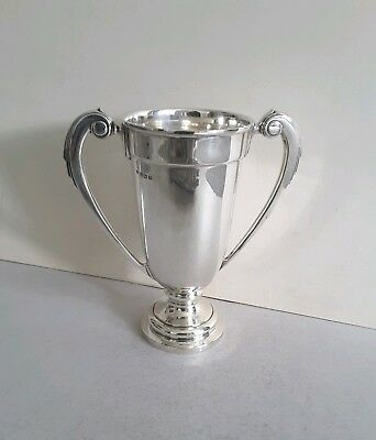 Stylish, Deco Vint. Solid Silver 2- Handle Cup.  Ht.21.5Cms. 356Gms.  Birm.1936.