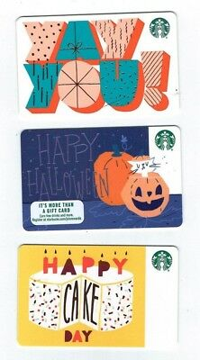 STARBUCKS Collectible Gift Card - LOT of 3 Cards - HALLOWEEN, YAY YOU - No Value