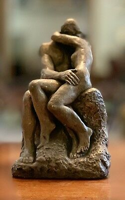 "The Kiss Sculpture 8.5"" Ceramic Figures Auguste Rodin Nude Classic Reproduction"