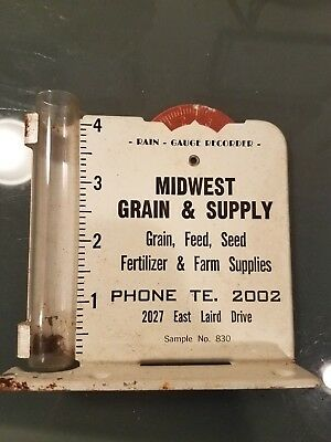 Vintage RAIN GAUGE advertising MID WEST GRAIN AND FEED