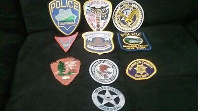 Assorted US Police Patches lot of 10 RARE AND NEW! US Marshall, Yosemite, etc.
