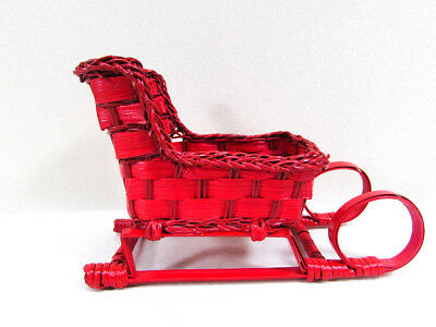 Vintage Red Christmas Sleigh Wicker Style