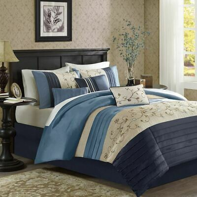 7PC NAVY BLUE & Taupe Embroidered Floral Comforter Set AND ...