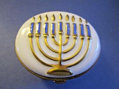 LA SEYNIE LIMOGES France Peint Main MENORAH Hinged Trinket Box