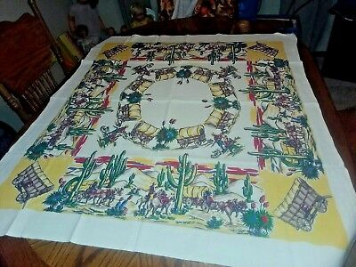 "Vintage Western Cowboy Ranch Tablecloth 51 1/2"" x 44"" - # 1"