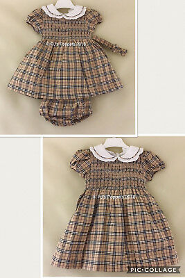 Baby Girls Spanish Style Smocked Dress Camel Tartan Check 0 6 12 18 24 2 3 4 5 6