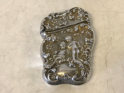 Antique Unger Brothers Sterling Silver Match Safe Repousse Cherubs Putti Dec