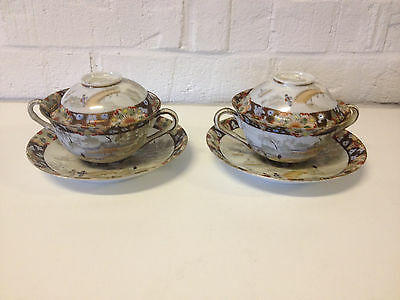 Antique Japanese Porcelain Signed Possibly Matsumura Pair of Cups and Saucers