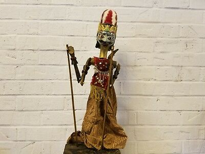 Vintage Antique Indonesian Wayang Golek Java Stick Shadow Puppet w/ Batik Dress