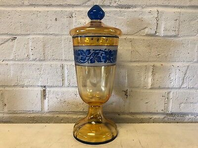 Vintage In the Manner of Steuben Yellow & Blue Floral Decorated Lidded Compote